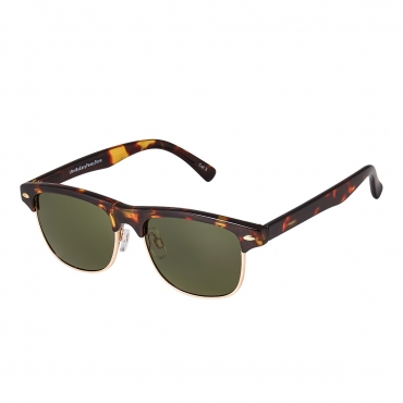 Tortoise Frame Green Horizon Lenses Childrens Sunglasses Round Half Frame Kids Glasses UV400 Retro Classic Boys Girl