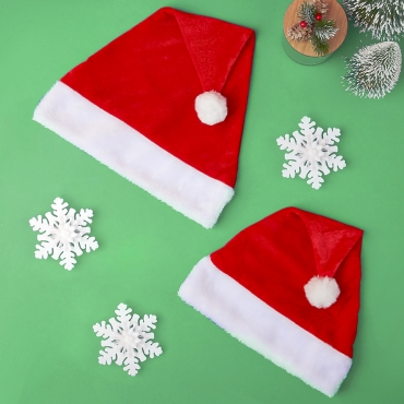 Adults and Childrens Santa Hats Plush Soft Red and White Traditional Fluffy Father Christmas Deluxe Mens Womans Velvet Feel with Pom Pom End
