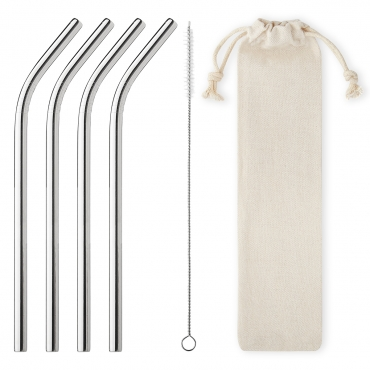 Ultra Packs of 4 to 100 6mm Wide Curved Metal Straws Stainless Steel Metal Drinking Straws Cleaning Brush and Carry Pouch/Case Reusable Straw with Case Cocktail Accessories Smoothie Straws Milkshake Straw