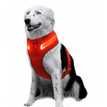 Large A Line Red Dog Harness USB Rechargeable LED Dog Harnesses Light Up Harness Anti Pull Safety Harness Light Up Dog Harness Bright Flashing Harness Hi Vis Dog Vest Illuminated Dog Jacket