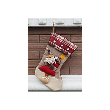 Santa Claus Traditional Deluxe Large Tapestry Plaid Style Design Christmas Xmas Stockings 46x27cm