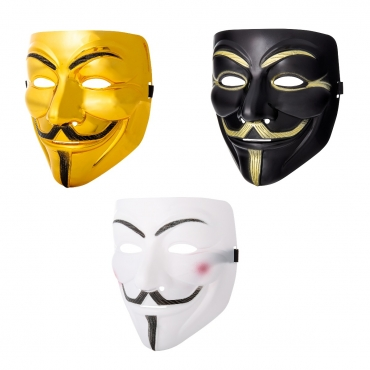 Ultra Mixed Pack of 1 White 1 Gold and 1 Black Adults Guy Fawkes Mask Hacker Anonymous Halloween Fancy Dress Adults Costume Play With Elasticated Strap High Quality