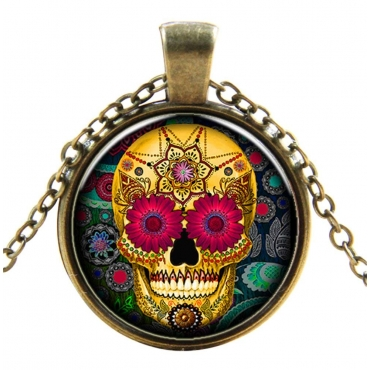 Floral Skull Style Steampunk Necklaces Classic Cyber Punk Victorian Mens Womens Jewellery Chain and Pendant Copper Vintage Cosplay