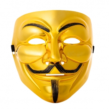 Ultra 1 Gold Adults Guy Fawkes Mask Hacker Anonymous Halloween Fancy Dress Adults Costume Play With Elasticated Strap High Quality