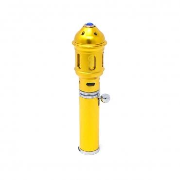 Gold with Blue Gem Handheld Incense Burner Diffuser Sticks Cones Vaporizer Bakhoor Bakhur Oudh Oud Wood Jet Butane Flame Pen