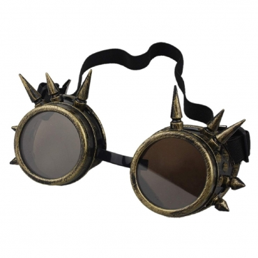 Ultra Gold with Brown Lenses Spike Steampunk Goggles Mens Womens Cyber Glasses Victorian Punk Welding Cosplay Goth Rustic Round Eyeweara Goggles Cyber Glasses Victorian Men's Women's Cosplay Goth Round-Bronze with Brown Lenses Spike