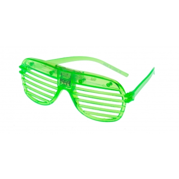 Green Flashing LED Shutter Style Glasses Glow Slotted Plastic Light Up Party