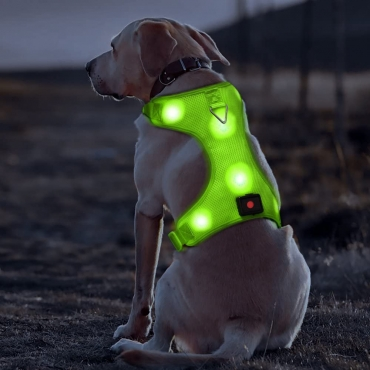 Green Harness USB Rechargeable LED Dog Harnesses Light Up Harness Anti Pull Safety Light Up Dog Harness Flashing Dog Harness