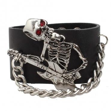 UltraByEasyPeasyStore Guitar Skeleton Goth Steampunk Bracelet Emo Punk Cyber Wrist Cuff Mens Womens Wristbands Biker Rock Vintage Gothic Style Adult