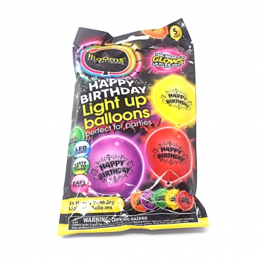 Packs of 5 to 50  Mixed Colour Happy Birthday Balloons Illoom Light Up LED Birthday Balloons As Seen on Dragons Den Light Up Balloons Party Decor Luminous Balloons