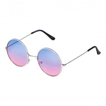 Ultra Silver Frame Pink to Blue Lenses Large Adults Retro Round Classic Sunglasses John Lennon Style Men Women Glasses UV400-Silver Frame Pink to Blue Lenses
