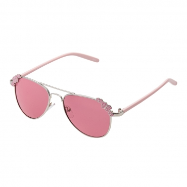Ultra Pink Frame with Pink Lenses Butterflies Childrens Kids Pilot Style Sunglasses Boys Girls Classic UV400 Metal Shades Glasses Unisex