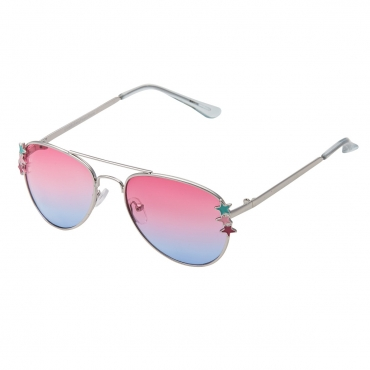 Ultra Silver Frame Pink to Blue Lenses Childrens Kids Pilot Style Sunglasses Boys Girls Classic UV400 UVA UVB Metal Shades Glasses Unisex