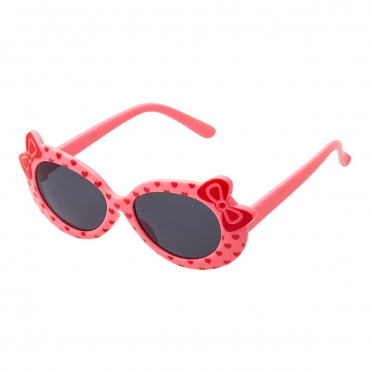 Pink Coloured Childrens Kids Girls Stylish Cute Designer Style Sunglasses High Quality with a Bow and heart Style UV400 Sunglasses Shades UVA UVB Protection Suitable for Ages 3 to 7 Years