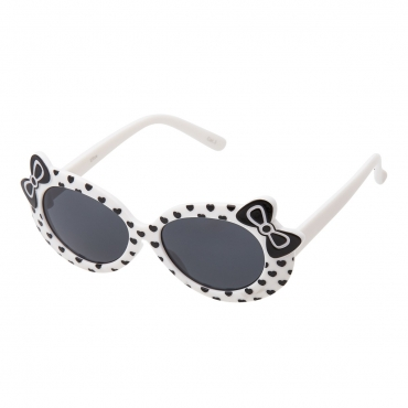 Ultra White Framed Girls Sunglasses Childrens Classic Cute Retro Bow Heart Glasses Kids Kitty Summer UV400 Protection