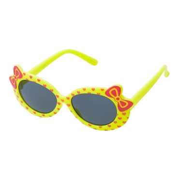 Ultra Yellow Framed Girls Sunglasses Childrens Classic Cute Retro Bow Heart Glasses Kids Kitty Summer UV400 Protection