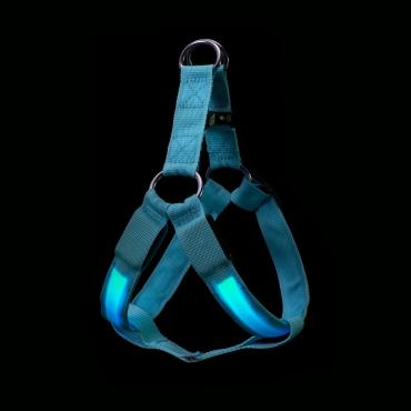 Blue LED Dog Harness Tough Nylon Bright Flashing Light Night Pet Safety Walking Visibility Easy Quick Fit 3 Modes