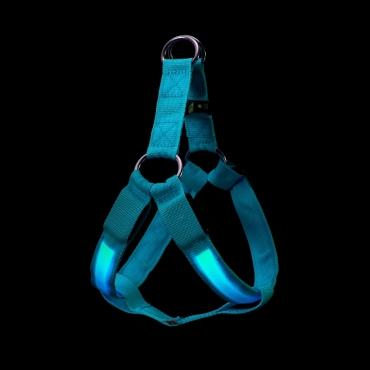 Ultra Blue LED Dog Harness Tough Nylon Bright Flashing Night Pet Safety Walking Visibility