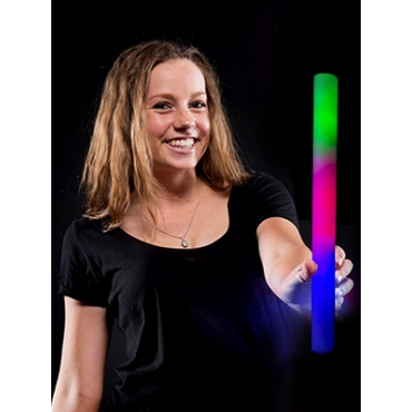 "LED Foam Sticks Flashing 18"" Multi-Coloured Glow in the Dark Batons Light Party"