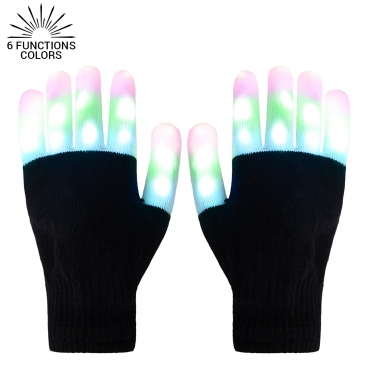 Ultra LED Gloves Light Up Gloves Adults Childrens LED Gloves 6 Settings 3 Colours Fingertip Flashing Gloves Light Up LED Gloves Disco Light Finger Lights Glow Gloves Party Birthday Halloween Christmas