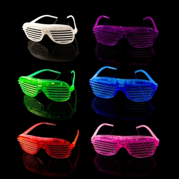 Flashing LED Shutter Style Glasses Glow Slotted Plastic Light Up Shades Party