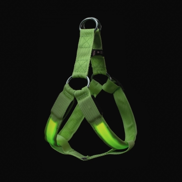 Green LED Dog Harness Tough Nylon Bright Flashing Light Night Pet Safety Walking Visibility Easy Quick Fit 3 Modes
