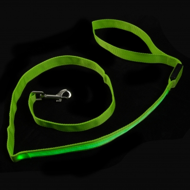 Green LED Flashing Light Up Dog Lead Nylon Walking Night Safety Glowing Illuminated Leash Hi Visibility for Training and Exercising 3 ModeS