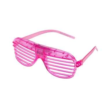 Pink Flashing LED Shutter Style Glasses Glow Slotted Plastic Light Up Party