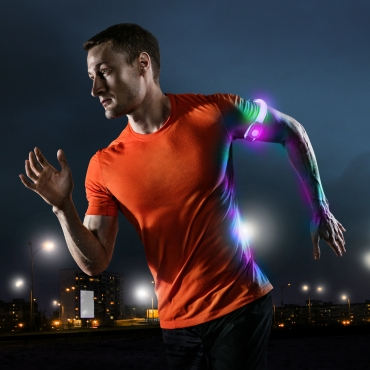 Ultra 4 Multicoloured LED Armbands Running Lights for Runners LED Light Running Armband for Men and Women High Vis Running Accessories Walking Accessories Night Safety Reflective Cycling Biking Jogging Bands