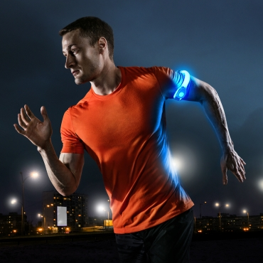 Ultra 4 Blue LED Armbands Running Lights for Runners LED Light Running Armband for Men and Women High Vis Running Accessories Walking Accessories Night Safety Reflective Cycling Biking Jogging Bands