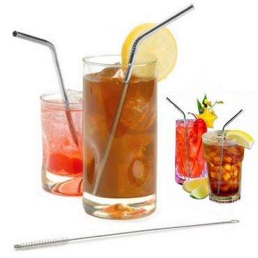 6mm Wide Curved Stainless Steel Metal Drinking Straws Cleaning Brush Reusable