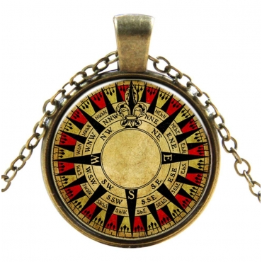 Nautical Compass Style Steampunk Necklaces Classic Cyber Punk Victorian Mens Womens Jewellery Chain and Pendant Copper Vintage Cosplay