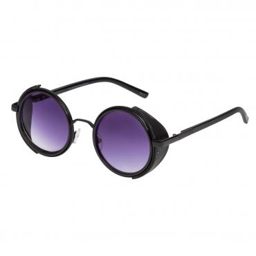Ultra Black Frame Purple Lenses Steampunk Sunglasses Goggles Retro Women Men Round Cyber Circle Cosplay Gothic Punk Welding Glasses Vintage UV400