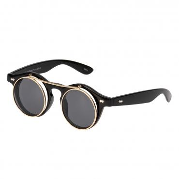 Ultra Black Frame Black Lenses Flip Up Round Steampunk Sunglasses Classic Goggles Retro Mens Womens UV400 Cyber Gothic Circle Glasses