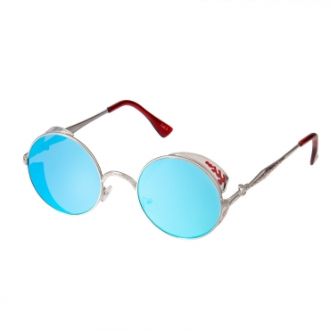 Ultra Steampunk Round Sunglasses Silver with Ice Blue Lenses Retro Mens Women Cosplay Cyber Gothic Vintage UV400 Protection Goggles Blinders Unisex