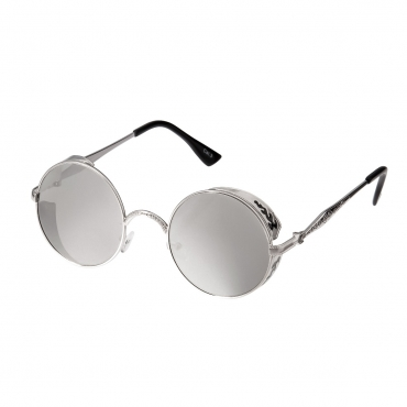 Ultra Steampunk Round Sunglasses Silver with Mirrored Lenses Retro Mens Women Cosplay Cyber Gothic Vintage UV400 Protection Goggles Blinders Unisex