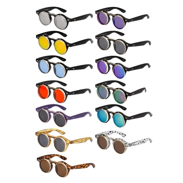 Flip Up Round Steampunk Sunglasses Retro Goggles Men's Ladies Cyber Glasses UV400