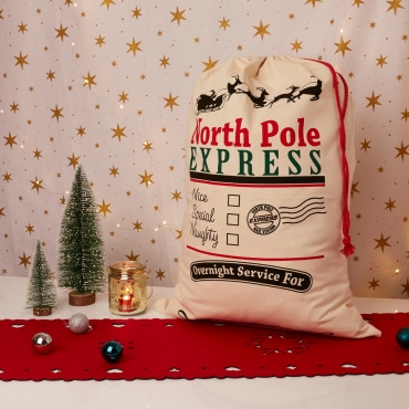 Large Blank Personalised Sacks 70cm by 50cm Linen Santa Xmas Gifts Customisable North Pole Nice Special or Naughty Childrens Adults