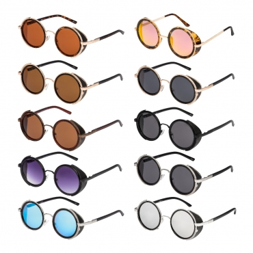 Steampunk Sunglasses Goggles Retro Women Men Round Cyber Circle Glasses UV400