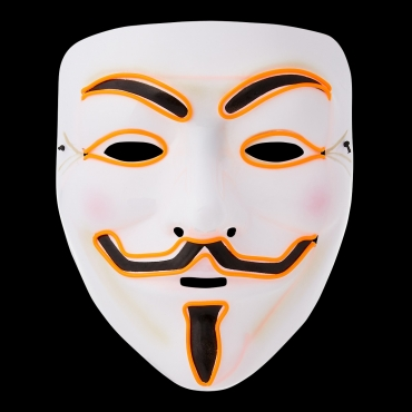 Ultra El Wire Guy Fawkes Mask Halloween Mask Hacker Mask Children Adult Anonymous Mask Guy Fawkes Masks LED Face Mask Cosplay Mask Light Up Mask Adults Kids Face Masks LED Mask-orange