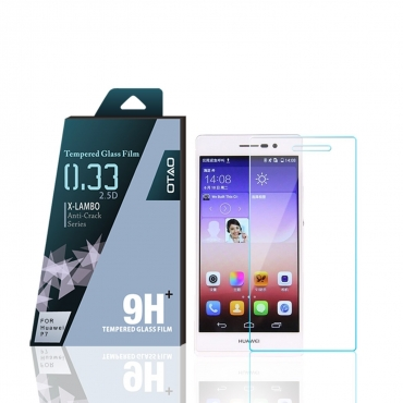 OTAO Huawei Ascend P7 Tempered Glass Screen Protector Curved edge 2.5D Premium Clear 0.3ml X Lambo highest level protection 9H Pro