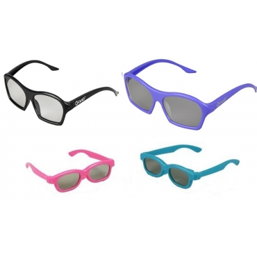 Family Pack 4 Pairs of Passive 3D Glasses 2 adults and 2 kids for all Passive TVs Cinema and Projectors such as RealD Toshiba LG Panasonic and more-1 Black 1 Purple Adults 1 Pink 1 Blue Childrens
