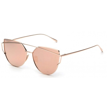 Ultra Gold with Pink Mirrored Lenses Oversized Twin Beam Adults Womans Girls Sunglasses UV400 UVA UVB Protection