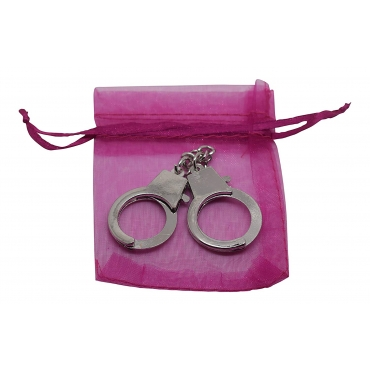 Ultra Mini 12cm Metal Handcuff cuff shaped keychain for keyrings keys 12cm in size including a pink gift bag