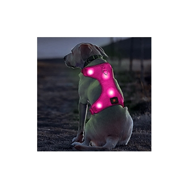 Ultra Large Pink Rechargeable LED Dog Harness Flashing Light Up Glow Night Safety Vest Coat