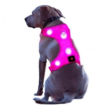 Ultra Large Pink Rechargeable LED Dog Harness Flashing Light Up Glow Night Safety Vest Coat