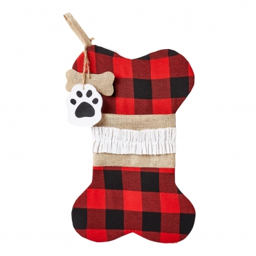 Ultra 1 Plaid Bone Cat and Dogs Christmas Stocking Dog Christmas Stocking Cat Christmas Stocking Plaid Burlap Stockings for Dog Gifts Cat Gifts Xmas Stockings Dog Treat Holder for Festive Dog Treats Bag