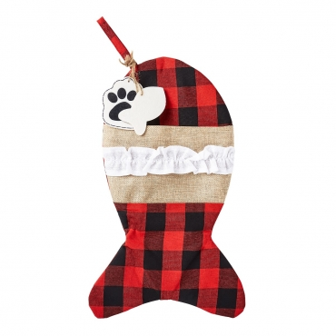 Ultra 1 Plaid Fish Cat and Dogs Christmas Stocking Dog Christmas Stocking Cat Christmas Stocking Plaid Burlap Stockings for Dog Gifts Cat Gifts Xmas Stockings Dog Treat Holder for Festive Dog Treats Bag