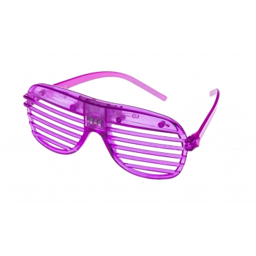 Purple Flashing LED Shutter Style Glasses Glow Slotted Plastic Light Up Party