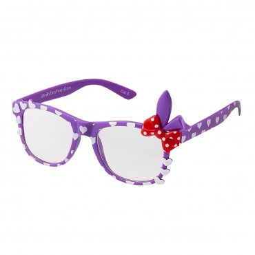 Purple Childrens Bunny Ear Heart Bow Style Clear Lens Costume Glasses Girls Fancy Dress Kids Classic Frame World Book Day Geek Nerd Cosplay